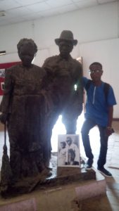 sculpture of a slave couple inside the Badagry Heritage museum