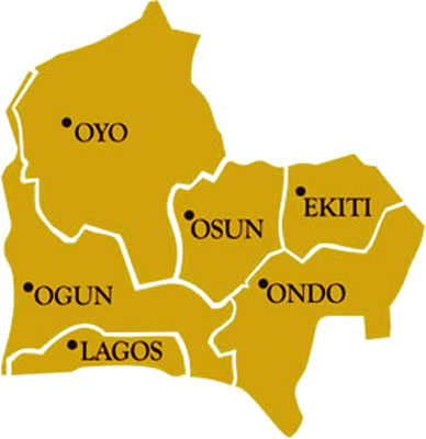 Map showing South west states in Nigeria